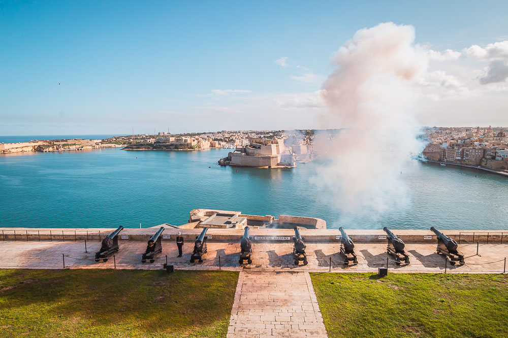 Saluting Battery in Valletta in Malta